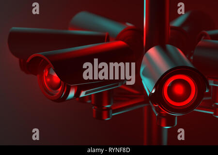 Close up on cctv lens as a metaphor of society controlled with surveillance system. 3D rendering - Stock Photo
