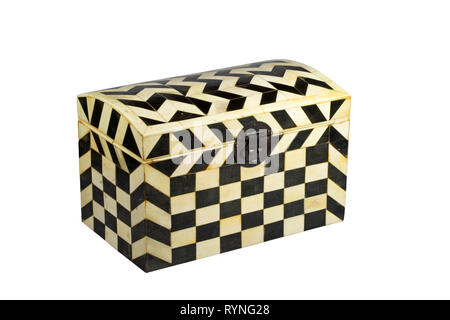 Old black and white wood box used for decoration isolated on white - Stock Photo