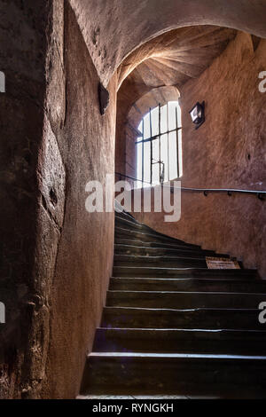 stairway  inside the Rose Tower, Vieux Lyon, France - Stock Photo