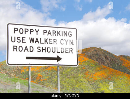 View of sign for poppy fields in the hills along Walker Canyon in Lake Elsinore, Southern California exploding in orange poppy flowers, cloudy skies a - Stock Photo