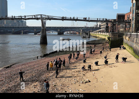 View of schoolchildren archaeology school group at low tide looking for artefacts on the foreshore of the River Thames London England UK  KATHY DEWITT - Stock Photo