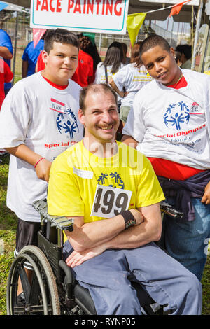 Miami Florida Dade College North Campus Special Olympics disabled competition sports athlete student volunteer acceptance - Stock Photo