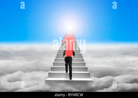 Businessman carrying big 3D red arrow sign and climbing on concrete stairs with cloudscape sunlight background - Stock Photo
