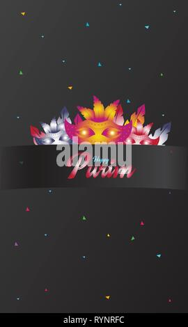 Happy Purim, jewish celebration party invitation (Happy Purim in Hebrew). - Stock Photo