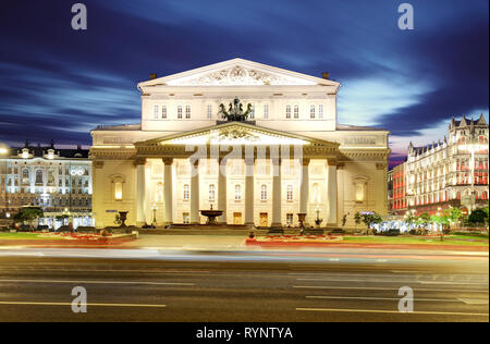 Bolshoi Theater at night  in Moscow, Russia - Stock Photo
