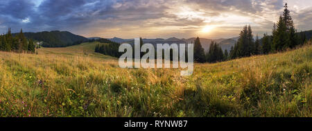Mountain panorama at dramatic sunset in Slovakia, Velka Fatra, Smrekovica - Stock Photo