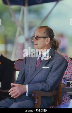 Prince Philip, Duke of Edinburgh attending Queen's College stone laying ceremony for the school's new building. Barbados, Caribbean. 1989 - Stock Photo