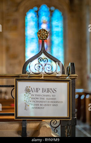 Views taken in and around the  county town of Lancashire, Lancaster . Taken with a Pentax K1 , 15-30 and 50mm F1.7  Lancaster priory Church interior - Stock Photo
