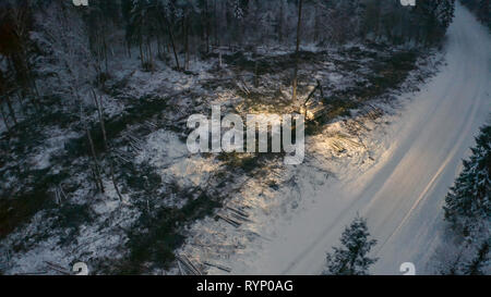 The log harvester cutting trees in the forest on an aerial view with the thick white snow covering the ground - Stock Photo
