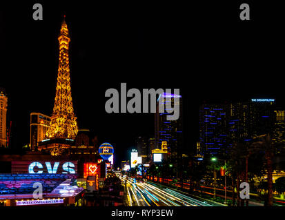 Strip View at Night, Las Vegas, Nevada, USA, October 2018 - Stock Photo