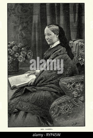 Vintage engraving of Elizabeth Gaskell, an English novelist, biographer, and short story writer - Stock Photo