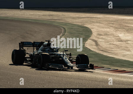 Barcelona, Spain. Mar, 1st, 2019 - Valtteri Bottas driving the (77) Mercedes AMG Petronas F1 Team Mercedes W10 on track day eight of F1 Winter Testing - Stock Photo