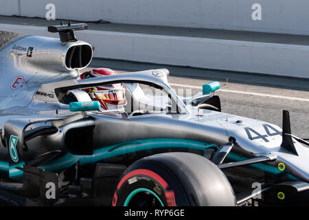 Barcelona, Spain. Feb 21st , 2019 Lewis Hamilton (44) with Mercedes AMG F1 Team Mercedes W10 driving on track day four of F1 Winter Testing at Circuit - Stock Photo