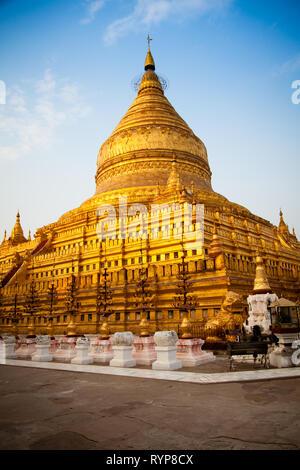 Schwezigon Pagoda at sunset, Bagan, Myanmar - Stock Photo