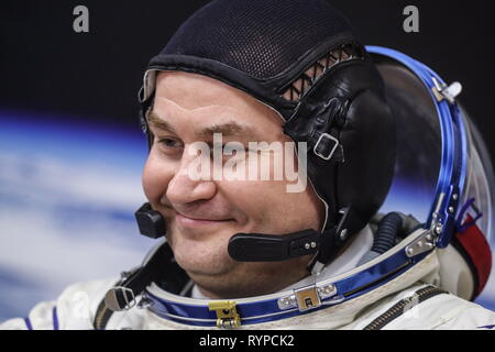 Kazakhstan. 14th Mar, 2019. KYZYLORDA REGION, KAZAKHSTAN - MARCH 14, 2019: Roscosmos cosmonaut Alexei Ovchinin of the ISS Expedition 59/60 prime crew during a spacesuit check before a launch to the International Space Station. The launch of a Soyuz-FG booster rocket carrying the Soyuz MS-12 spacecraft to the ISS from the Baikonur Cosmodrome is scheduled for March 14, 2019 at 22:14 Moscow time. Sergei Savostyanov/TASS Credit: ITAR-TASS News Agency/Alamy Live News - Stock Photo