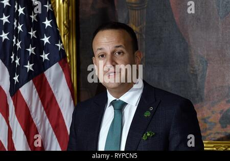 Washington, DC, USA. 14th Mar, 2019. Leo Varadkar, Ireland's prime minister speaks during the Friends of Ireland luncheon at the U.S. Capitol in Washington, DC, U.S., on Thursday, March 14, 2019. Credit: Olivier Douliery/Pool via CNP | usage worldwide Credit: dpa/Alamy Live News - Stock Photo