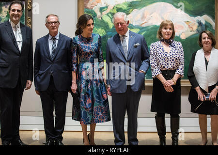 London, UK. 13th Mar 2019. HRH The Prince of Wales, with Her Majesty Queen Letizia of Spain, attend the opening of 'Sorolla: Spanish Master of Light' at the National Gallery, Trafalgar Square, London, United Kingdom Credit: Jeff Gilbert/Alamy Live News - Stock Photo