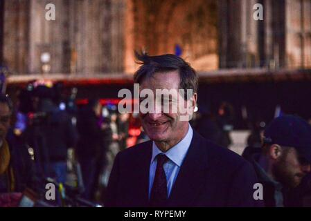 London, UK. 14th Mar, 2019. Dominic Grieve QC MP,  Conservative MP for Beaconsfield  being interviewed on College Green, as  MPs  vote  on the government motion to delay Brexit to June 2019. .Credit: Claire Doherty/Alamy Live News - Stock Photo