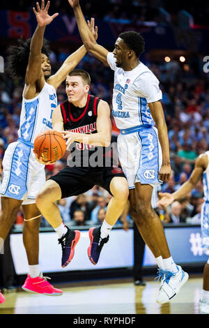 Louisville Cardinals guard Ryan McMahon (30) during the ACC College Basketball Tournament game between the Louisville Cardinals and the North Carolina Tar Heels at the Spectrum Center on Thursday March 14, 2019 in Charlotte, NC. Jacob Kupferman/CSM - Stock Photo
