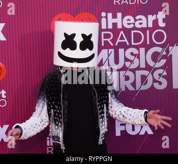 Los Angeles, California, USA. 14th Mar, 2019. Marshmello  attends the 2019 iHeartRadio Music Awards which broadcasted live on FOX at Microsoft Theater on March 14, 2019 in Los Angeles, California. Credit: Tsuni / USA/Alamy Live News - Stock Photo