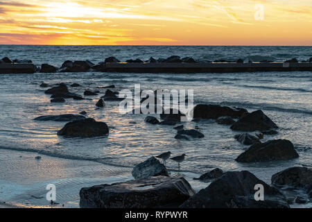 Stunning sunset sky as the waves crash on the rocks in the Gulf of Mexico with the bonus of a few birds walking among the rocks - Stock Photo