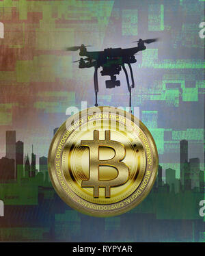 Concept image of a drone delivering a bitcoin depicting technology and crypto currency - Stock Photo