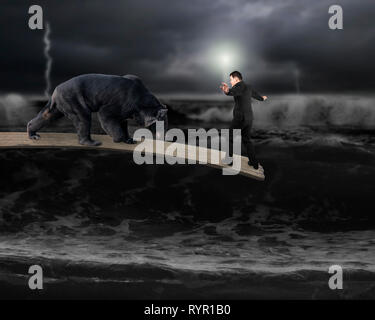 Businessman against black bear balancing on wooden board with dark stormy ocean background - Stock Photo