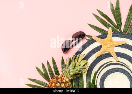 Summer flat lay background on pink. - Stock Photo
