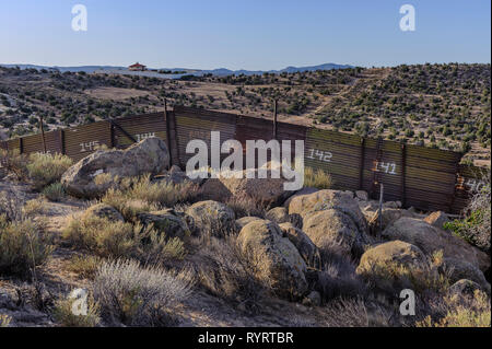 "US - Mexico Border Fence, ""landing mat"" style construction, Jacumba California, April 2018, - Stock Photo"