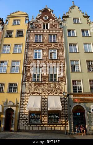 Town houses, Long market, Dlugi Targ, Old town, Gdansk, Pomerania, Poland - Stock Photo