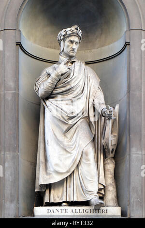 Dante Alighieri in the Niches of the Uffizi Colonnade in Florence - Stock Photo