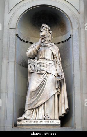 Francesco Petrarca in the Niches of the Uffizi Colonade in Florence - Stock Photo