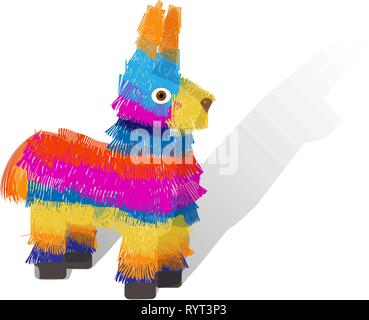 Bright striped colorful pinata isolated on white background.  Mexcian traditional birthday toy. Vector illustration - Stock Photo