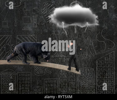 Businessman against black bear balancing on plank with gray cloud raining lightning and doodles wall background Stock Photo