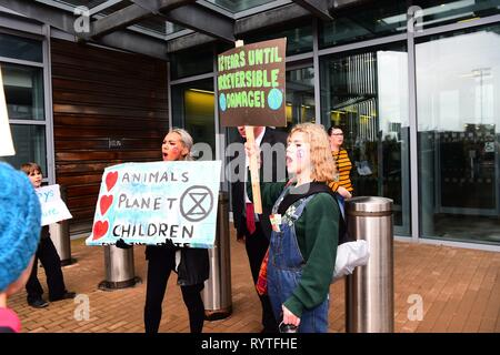 Aberystwyth Ceredigion Wales UK, Friday 15 March 2019. Over 300 Pupils from various local secondary schools taking part in the second UK-wide 'school strike 4 climate', protesting outside the offices of the Welsh Government in Aberystwyth Wales photo Credit: Keith Morris/Alamy Live News - Stock Photo