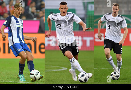 Ingolstadt, Deutschland. 15th Mar, 2019. Cadre nomination at the DFB team: v.li: Niklas STARK, Maximilian EGGESTEIN and Lukas KLOSTERMANN appointed to national team. Soccer U-21 Laenderspiel.EM Qualification, Germany (GER) - Norway (NOR) 2-1, on 12.10.2018 in Ingolstadt/AUDI SPORTPARK. DFB REGULATIONS PROHIBIT ANY USE OF PHOTOGRAPH AS IMAGE SEQUENCES AND/OR QUASI VIDEO. | Usage worldwide Credit: dpa/Alamy Live News - Stock Photo