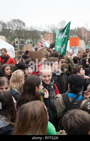Brighton, UK. 15th Mar 2019. Students from the Youth Strike 4 Climate movement during a climate change protest in Brighton, March 15th 2019. Credit: Madison Beach/Alamy Live News - Stock Photo