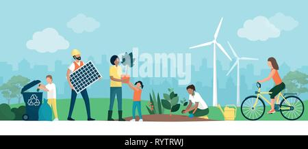 Multiethnic group choosing a sustainable eco-friendly lifestyle: people collecting and recycling waste in a park, growing plants and using alternative - Stock Photo