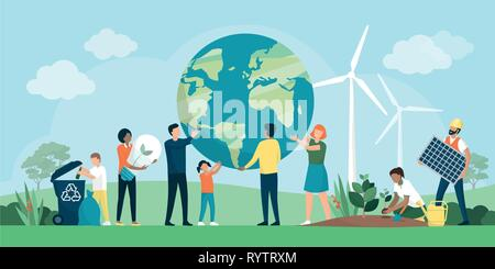 Multiethnic group of people cooperating for environmental protection and sustainability in a park: they are supporting earth together, recycling waste - Stock Photo
