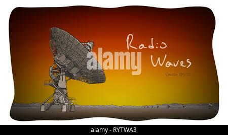 Radio telescope dishes antenna. Vector sketch draw - Stock Photo