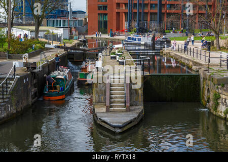 The 1819 St Pancras Lock on the Regent's Canal in London, UK.Popular destination for tourists. - Stock Photo