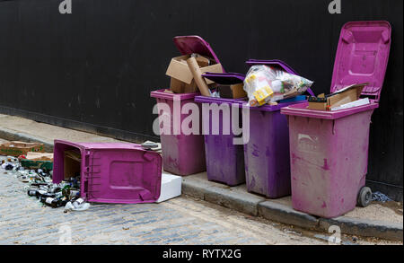 Purple and pink rubbish bins overflowing and glass bottles on the ground from a bin on it's side. - Stock Photo