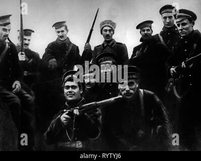 Russian Revolution 1917, October Revolution, assault on the Winter Palace, Petrograd, 8.11.1917, involved sailors of the Baltic fleet, Saint Petersburg, Winter Palace, people, military, navy, weapons, arms, weapon, arm, rifle, gun, rifles, guns, revolutionist, revolutionists, 26.10.1917, Russia, Russian Republic, 1910s, 20th century, revolution, revolutions, person involved, party, the parties concerned, all parties concerned, sailor, seaman, sailors, seamen, fleet, fleets, historic, historical, Additional-Rights-Clearance-Info-Not-Available - Stock Photo