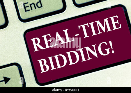Handwriting text Real Time Bidding. Concept meaning Buy and sell advertising inventory by instant auctions Keyboard key Intention to create computer m - Stock Photo