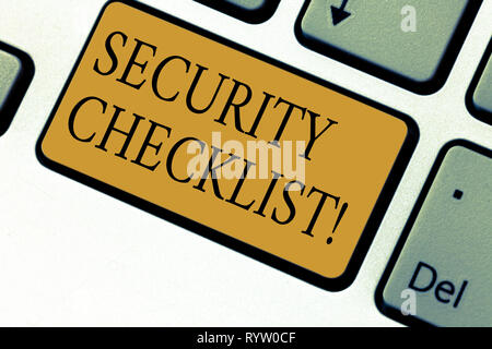 Text sign showing Security Checklist. Conceptual photo list with authorized names to enter allowing procedures Keyboard key Intention to create comput - Stock Photo
