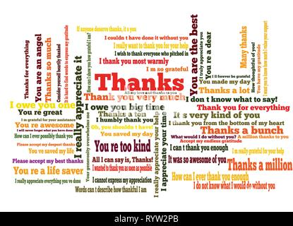 Many ways to say thank you word cloud - Stock Photo