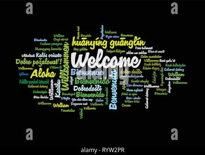 Word Tag Cloud, shows equivalents of 'Welcome', how to say it in many languages, vector ESP10 - Stock Photo