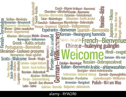 Word Tag Cloud, shows equivalents of 'Welcome', how to say it in many languages. It is version with language name. Vector ESP10 - Stock Photo