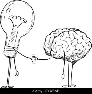 Cartoon Drawing of Brain and Lightbulb Characters Shaking Hands - Stock Photo