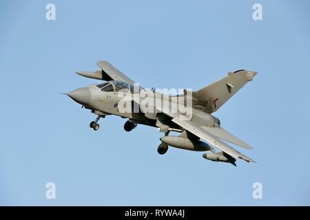 Royal Air Force Panavia Tornado GR4 based at RAF Marham. flying. - Stock Photo